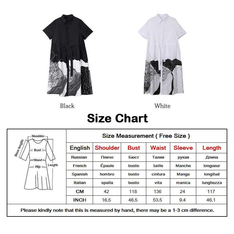 Mới 2020 Phong Cách Hàn Quốc Nữ Mùa Hè Đen Tranh Áo Sơ Mi Tay Dài Kèm Tất In Hình Size Lớn Nữ Casual Áo Dài Cách Tân Họa Tiết áo Dây 5128