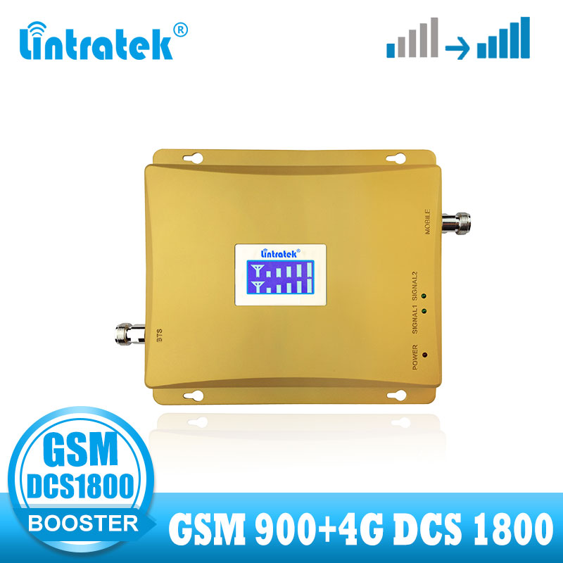 Lintratek 4G Signal Booster GSM Dual Band Cellular Mobile Dcs 1800 4G Signal Booster Repeater LTE 1800mhz  GSM 900 Amplifier