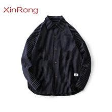 Camisa de primavera retro con rayas clásico para hombre, camisa masculina de moda japonesa con solapa, ropa de marca cómoda con etiqueta social