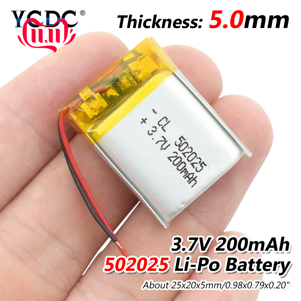3.7V 200mAh <font><b>502025</b></font> Lithium Polymer Li-Po li ion Rechargeable <font><b>Battery</b></font> Lipo cells For MP3 MP4 toys speaker Tachograph POS image