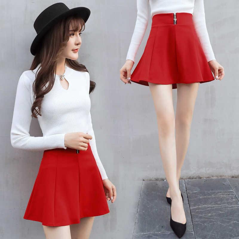 HELIAR الأحمر تنورة مثير سستة يطير تنورة المرأة ليلة نادي تنورة ساخنة الكورية نمط تنورة ألف خط عالية الخصر تنورة غير رسمية 2020 الصيف