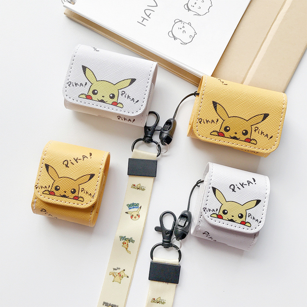 for airpods pro case leather anime cute pikachu design earphone case for apple airpods with hook earphone accessories 2020 new