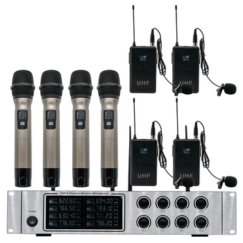 Professional wireless microphone system 4 handheld microphone 4 lavalier microphone speech performance wireless microphone