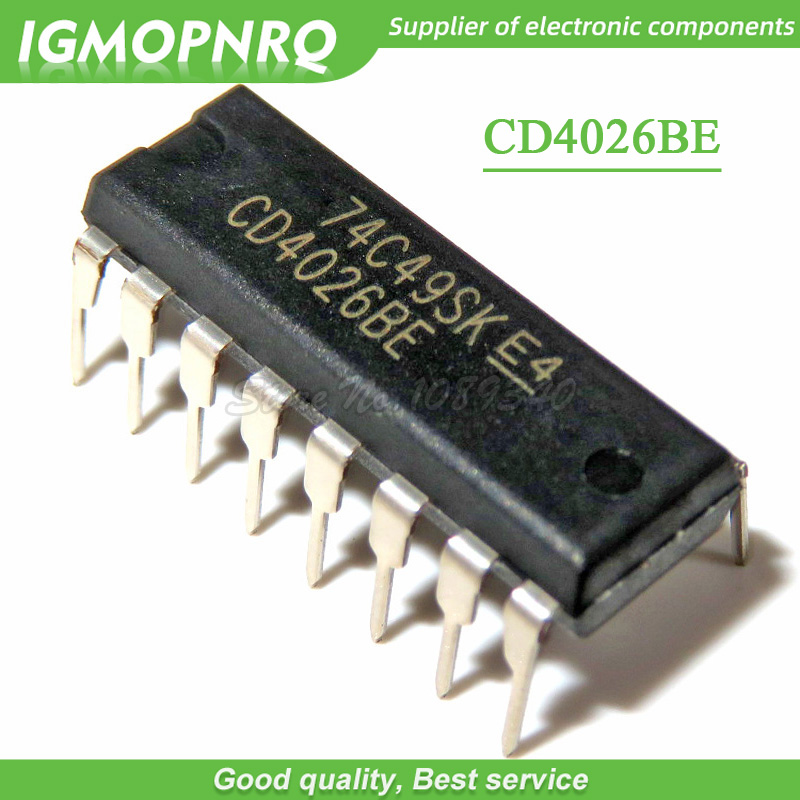 10pcs/lot CD4026BE CD4026B DIP-16 logic chip decimal counter / divider CD4026 New Original image