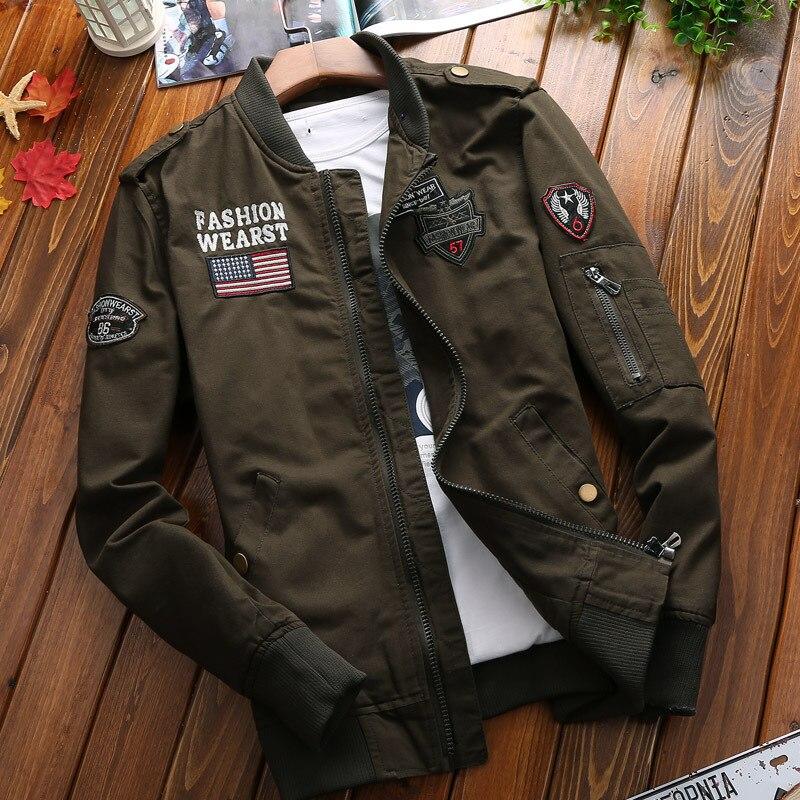 Military Jacket Men Spring Autumn Mens Coat Casual Warm Bomber Jacket Men Cotton Baseball Uniform Jacket Zipper Coat Spring