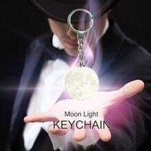 Moon Light Key Chain Safety LED Night Light Portable 3D Unique Moon Shape Decoration Keychain Practical Birthday Gift led cartoon snake shape night light function keychain