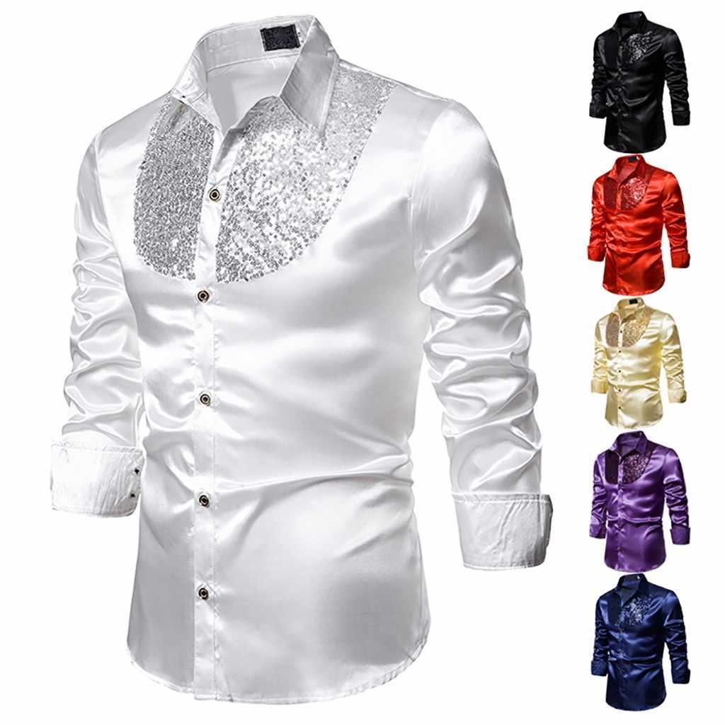 Luxury Sequin Dress Shirts Men Long Sleeve Satin Shiny Disco Party Shirt Men Stage Dance Men top Stag Nightclub Prom Costume new