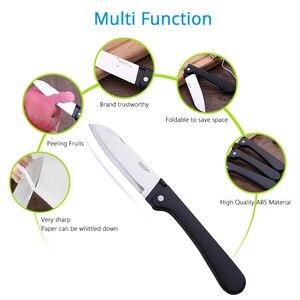 Image 2 - Couteau pliant de cuisine, couteau de poche en acier inoxydable, Mini couteau pliant Portable coupe fruits, couteau de Camping, outil de survie en plein air