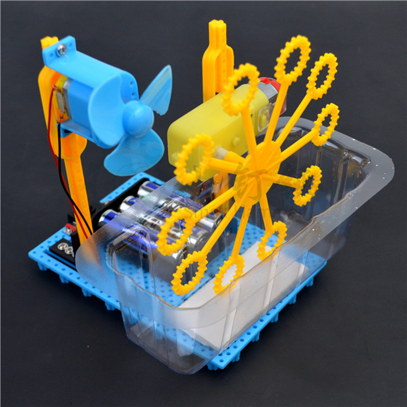 DIY Assembly Bubble Machine Homemade Electric Toy Creative Science Experiment Kit For Children Student Toy Science Diy Kit
