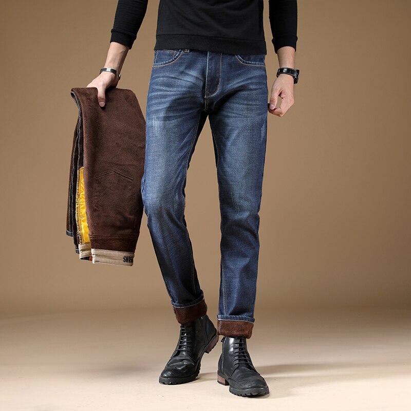 Fashion Designer Winter Men Jeans Top Quality Slim Fit Elastic Casual Business Keep Warm Jeans Men Blue Color Thick Velvet Pants