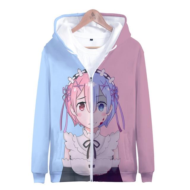 Japão anime re zero hoodie com capuz jaqueta com zíper casaco moletom para homem feminino roupas da menina do miúdo rem e ram zíper casacos