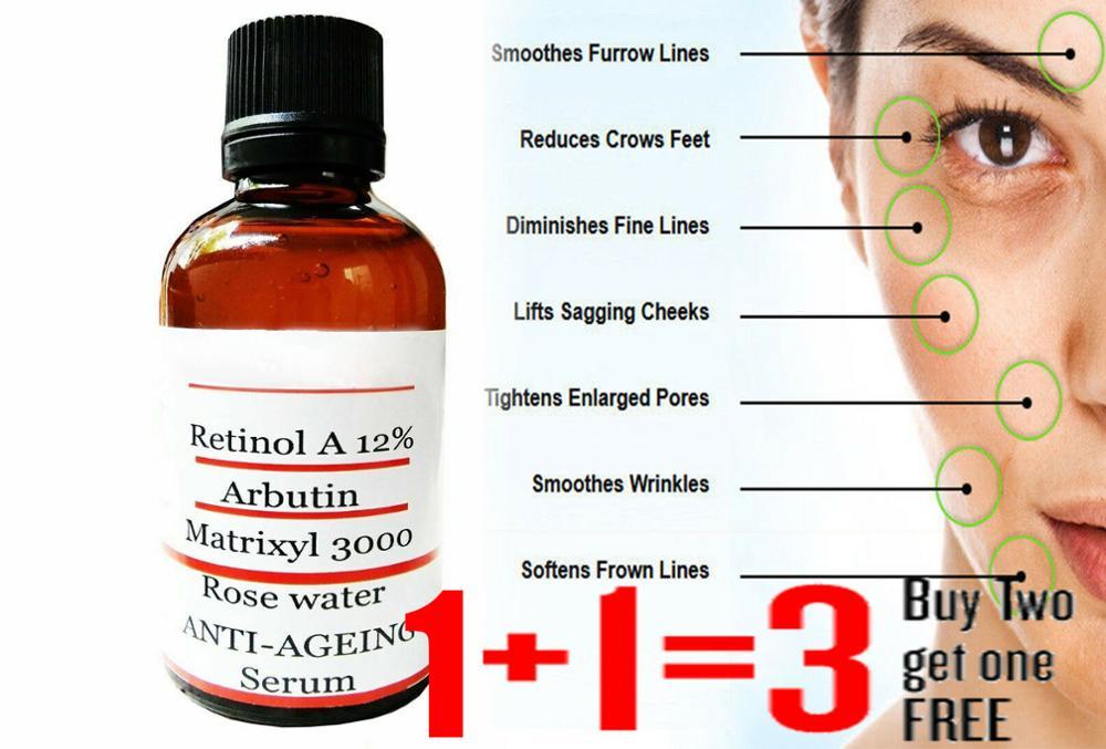 Original Retinol Vitamin A Anti Wrinkle Ageing Face Serum Pure Hyaluronic Acid Matrixyl 3000 Serum Buy 2 Get 1 Free