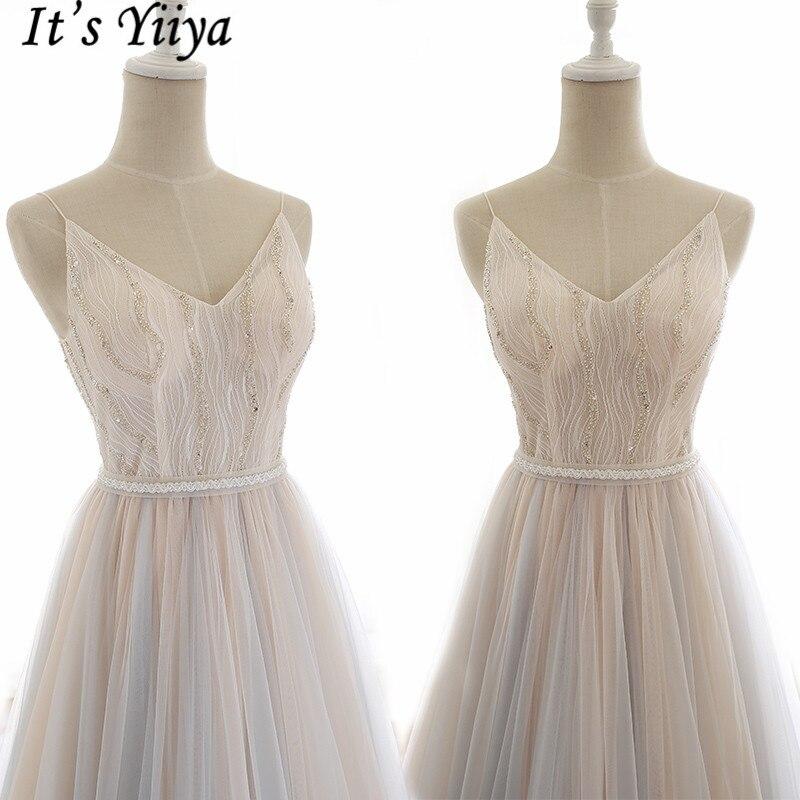 It's Yiiya Evening Dress 2019 Summer Spaghetti Strap Elegant A-Line Floor Length Dresses V-Neck Backless Formal Dresses E955