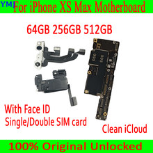 Para iphone xs max placa-mãe com face id placa lógica de fábrica com chips completos 100% desbloqueado mainboard 64 gb 256 gb 512 gb(China)