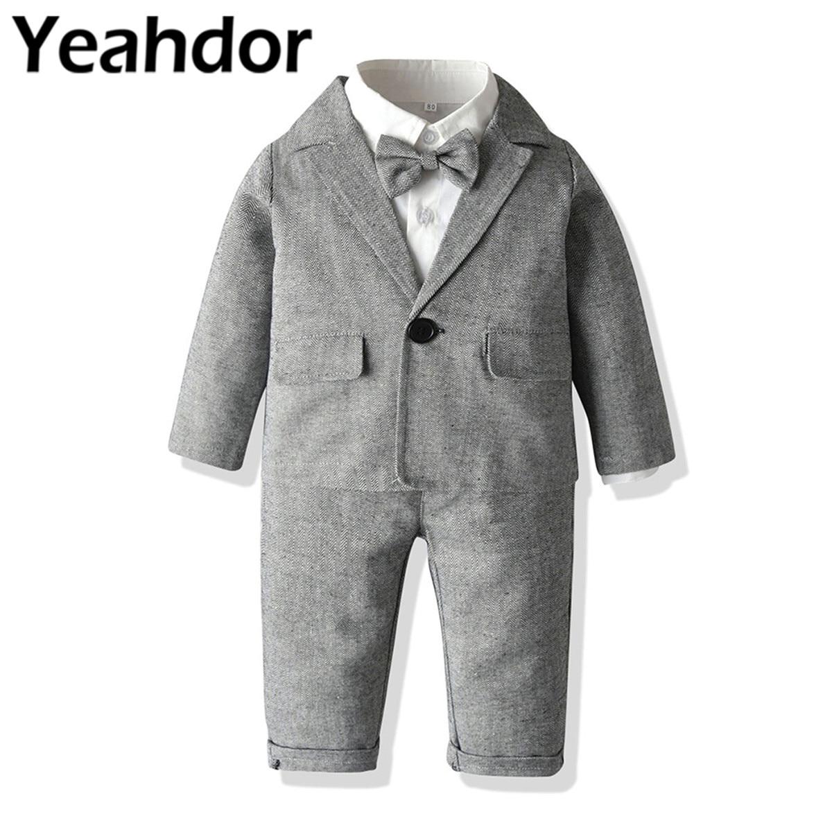 Wedding Boys Suits Children's Gentleman Outfit Bowtie Shirt + Suspenders Long Pants Dress Blazer Boy's Party Set Formal Costume