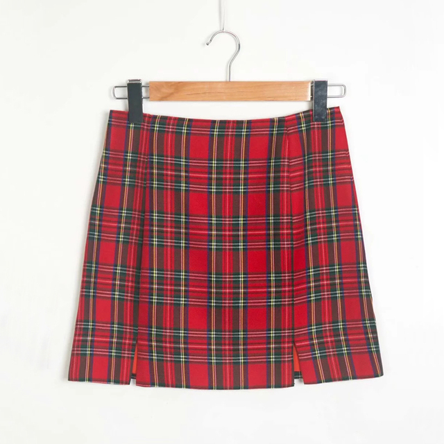Women Back Zipper Opening Plaid Print Skirt With Two Small Front Slits With Lined Plaid Mini Skirts Womans B918