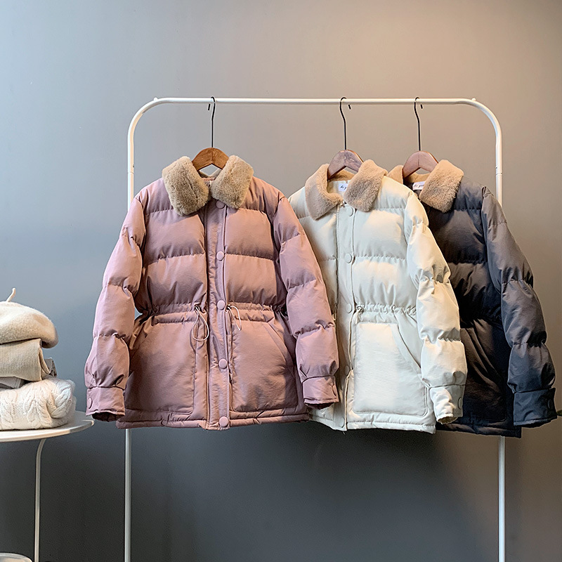 Warm Winter Jacket Women Fashion  Fur Collar Down Cotton Coat Women Korean Solid Color Loose Large Size Female Coat In Stock