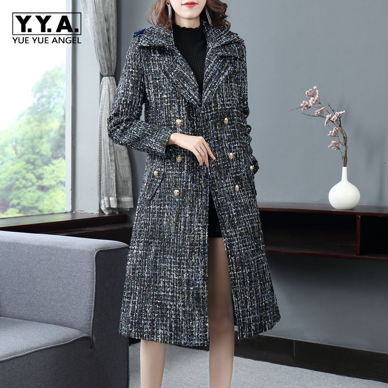 Autumn Winter Womens Fashion Double Breasted Tweed   Trench   Coats Elegant Medium Length Lapel Sashes Slim Fit Female A-Line Coats