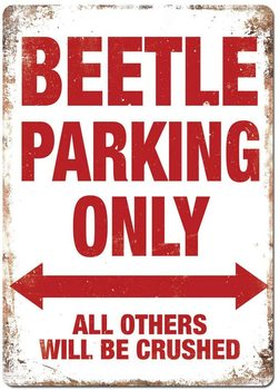 Beetle Parking White Metal Wall Sign Plaque Art Garage Classic Car Vw Bug Rat image
