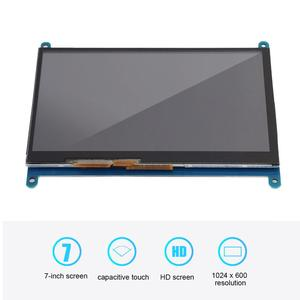 """Image 2 - شاشة LCD تعمل باللمس بالسعة لتوت العليق Pi 4B/3B/3B + 7 """"1024*600 HDMI بالسعة شاشة تعمل باللمس محرك أقراص USB خالية من BB الأسود"""