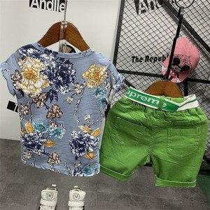 Image 4 - 2PCS WLG בני קיץ בגדי סט ילדים פרחוני מודפס חולצה וג ינס ripped קצר סט ילדי בגדים