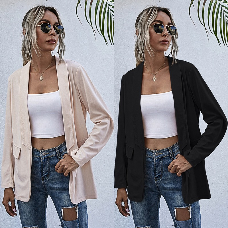 2020 Autumn Hot Selling European and American Solid Color Long-Sleeved Lapel Small Suit Jacket Women's Clothing