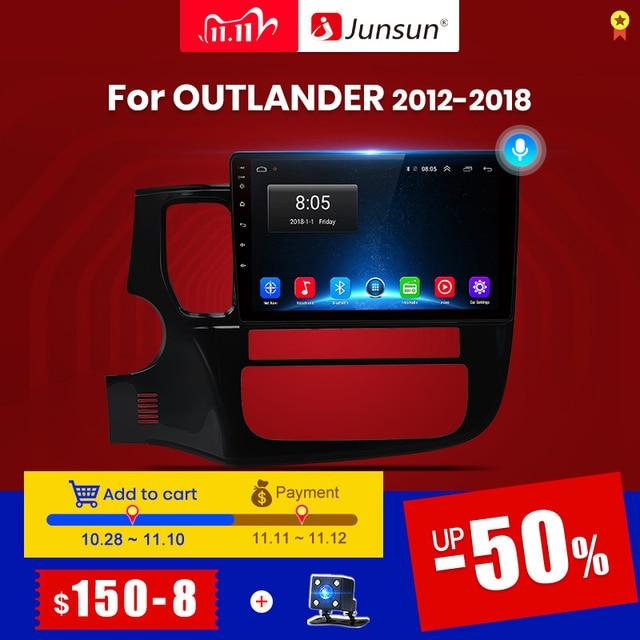 Junsun V1 2G + 32G 안드로이드 10.0 4G 멀티미디어 비디오 플레이어 네비게이션 GPS For Mitsubishi Outlander 3 GF0W GG0W 2012 2018 Car Radio