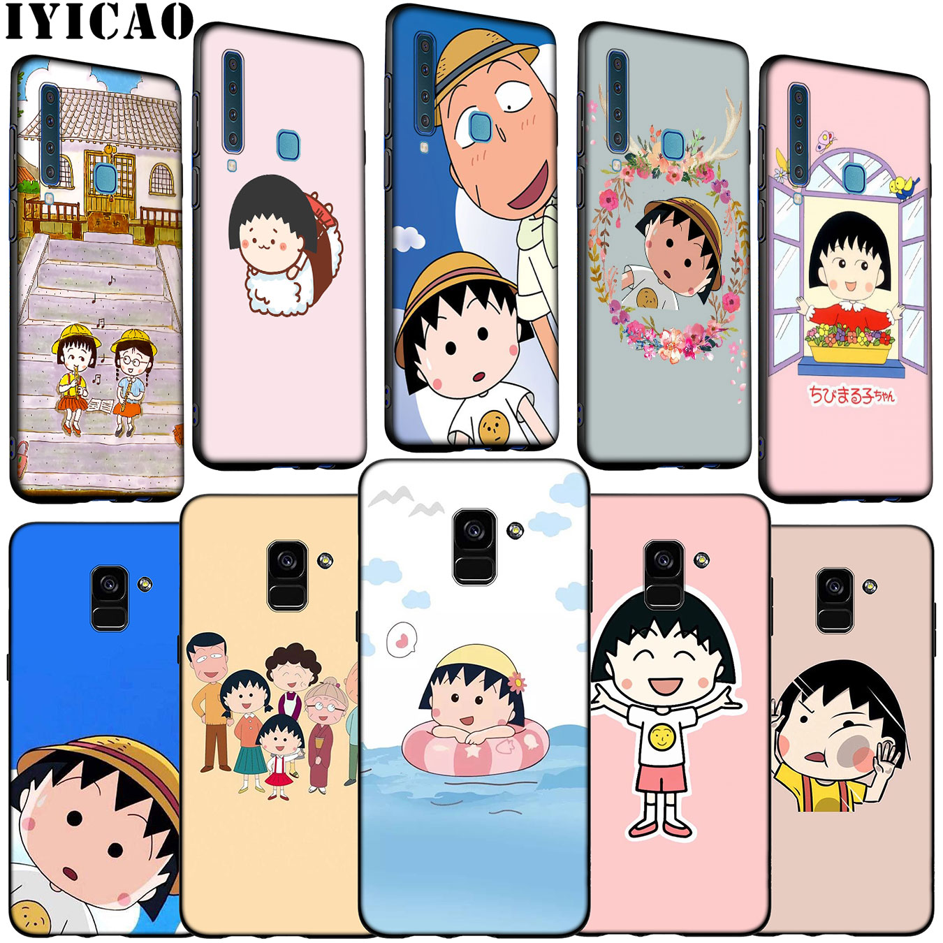 Cherry chibi maruko chan <font><b>Cartoon</b></font> Soft Silicone <font><b>Phone</b></font> <font><b>Case</b></font> for <font><b>Samsung</b></font> Galaxy A6 A7 A8 A9 2018 A3 <font><b>A5</b></font> <font><b>2016</b></font> 2017 Note 9 8 10 Plus image