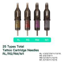 100 шт смешанные размеры одноразовые иглы для тату картриджа RL RS RM M1 для ручки для тату принадлежности для картриджей