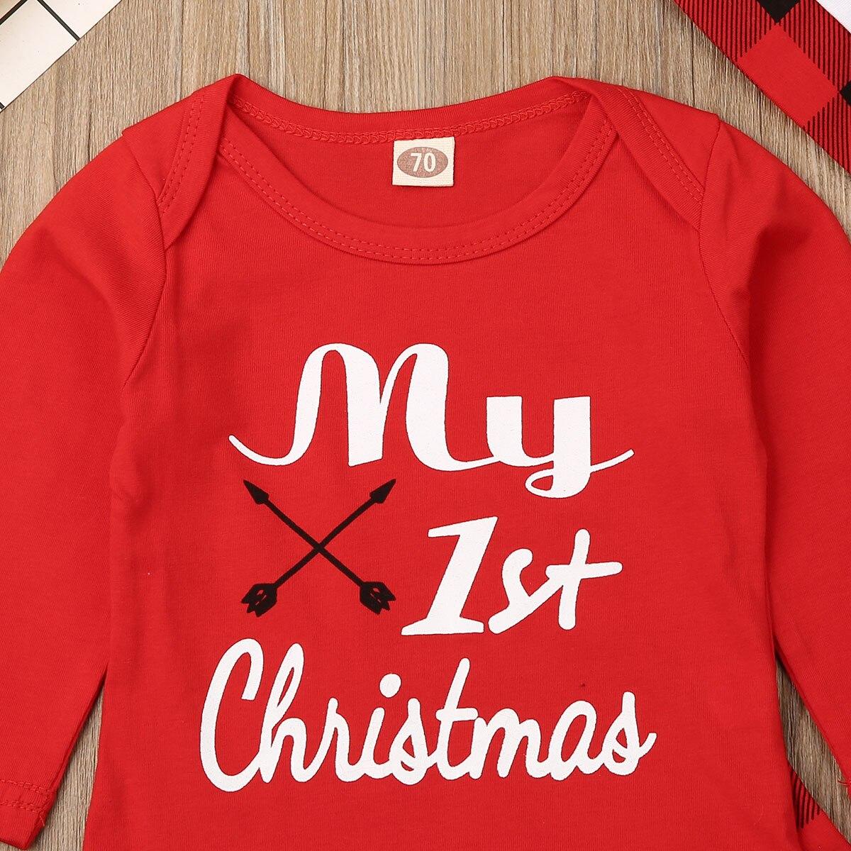 Милый детский Ромпер брюки с надписью «My First Christmas» для маленьких мальчиков и девочек шляпа Рождественский комплект осенняя одежда