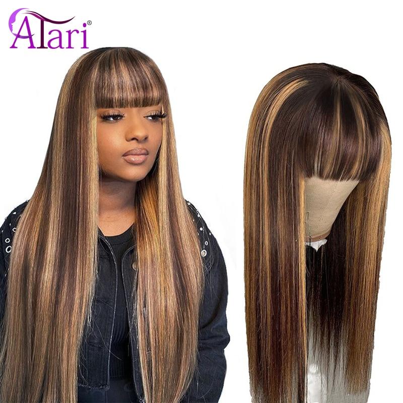Mettre en évidence perruque 99J péruvienne droite cheveux humains perruques avec frange 100% vierge cheveux humains brun Blonde perruques pleine Machine faite perruque