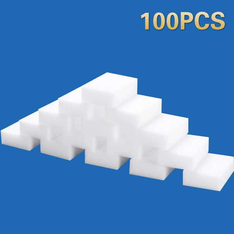 Esponja mágica para limpeza em 100 peças, esponjas de limpeza de melamina mágicas, para limpar casa, cozinha, escritórios, banheiro
