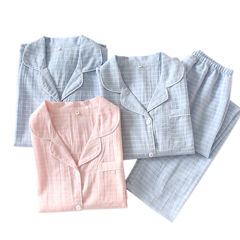 New Plaid Couple Sleepwear Women Pure Cotton Pajamas Men And Women Home Sleepwear Casual 100% Cotton Long-sleeve Pyjamas Women