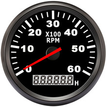 85mm Boat Car Tachometer, Auto Motor Tachometer for Diesel Gasoline Engine red light 0-9990 RPM 12 V 24 V Lap timer Hour meter