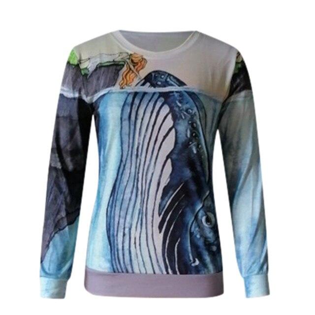 Blouse Women 2020 Women O Neck Fun Pattern Printed Long-sleeved Blouse Harajuku Shirt ropa de mujer блузка женская 2020 2