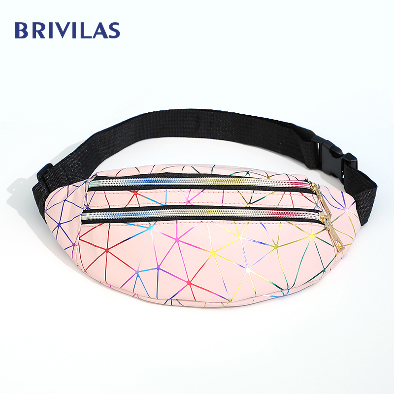 Brivilas Holographic Waist Bags Women Banana Pink Fanny Pack Female Belt Bag Black Geometric Waist Packs Laser Chest Phone Pouch