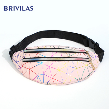 Brivilas Holographic Waist Bags Women Banana Pink Fanny Pack Female Belt Bag Black Geometric Waist Packs Laser Chest Phone Pouch