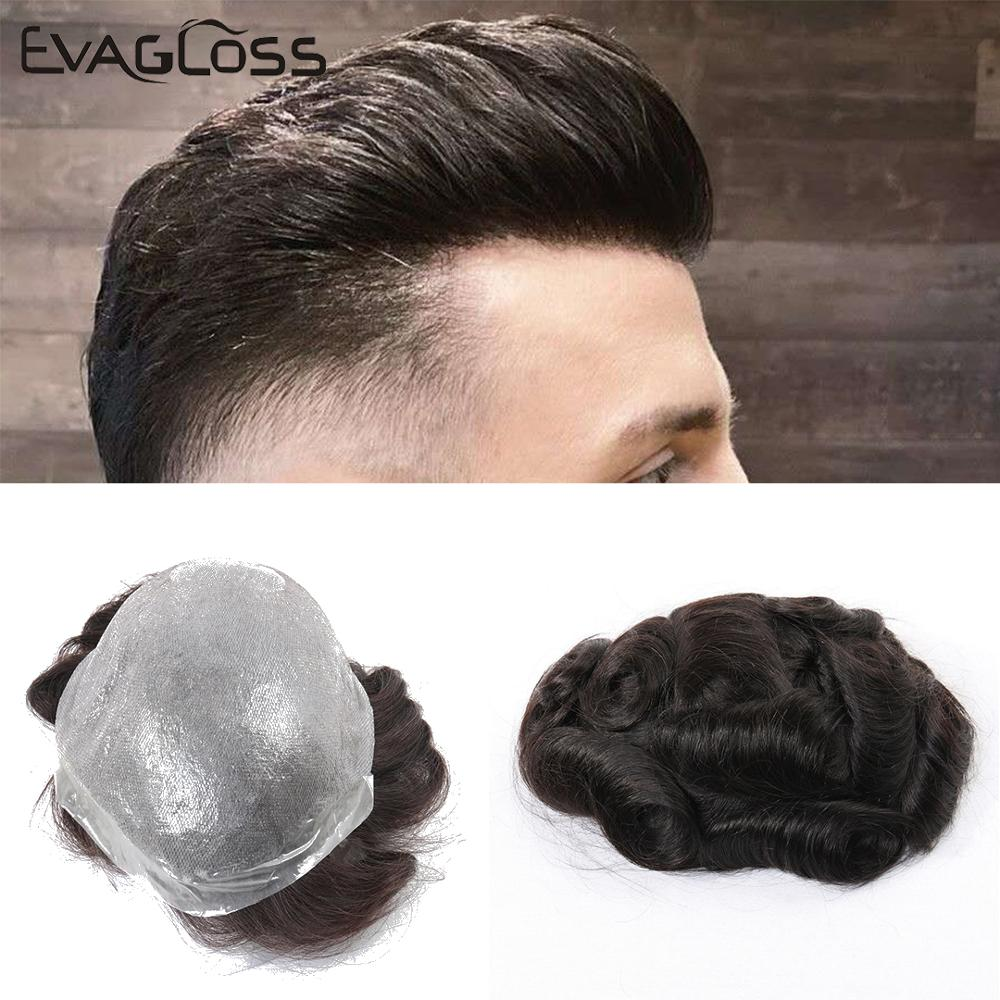 EVAGLOSS Indian Human Hair Toupee Men Thin Skin Mens Wig V Loop Replacement Hair Pieces System For Male Wig Free Shipping