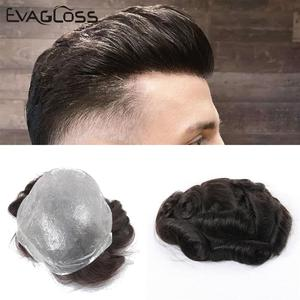EVAGLOSS Indian Human Hair Toupee Men Thin Skin Mens Wig V Loop Replacement Hair Pieces System For Male Wig Free Shipping(China)
