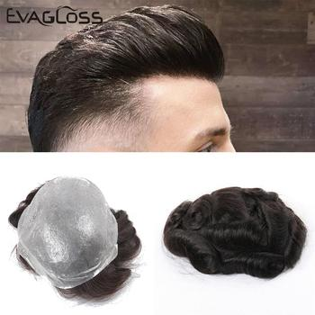 EVAGLOSS Indian Human Hair Toupee Men Thin Skin Mens Wig V Loop Replacement Hair Pieces System For Male Wig Free Shipping bymc mens toupee super soft thin skin men s toupee 100% real indian human hair pieces for men brown colored toupee for men