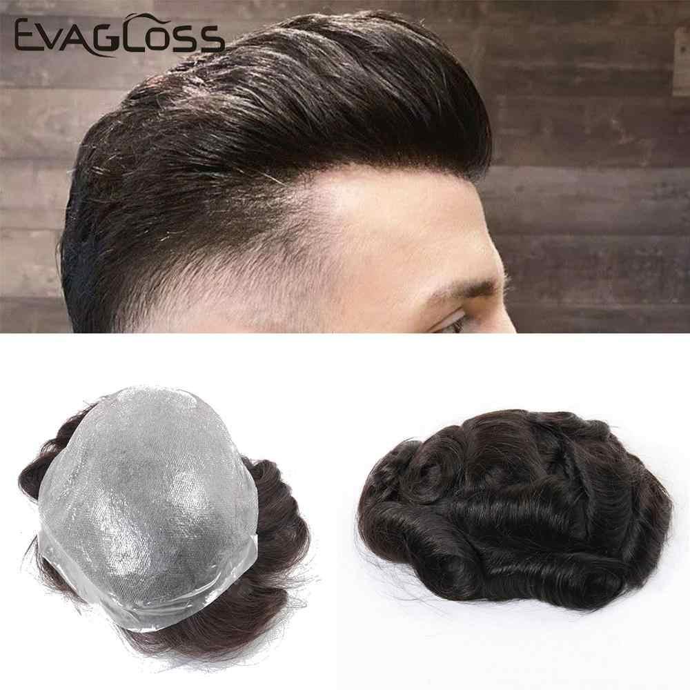 Evagloss Indian Human Hair Toupee Mannen Dunne Huid Heren Pruik V Lus Vervanging Haarstukken System Voor Mannelijke Pruik Gratis verzending