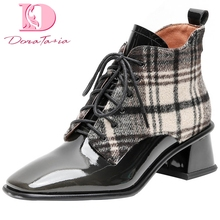 Doratasia/; высококачественные ботильоны из лакированной кожи на шнурках; женская обувь; женские ботинки на не сужающемся книзу массивном каблуке; женская обувь; ботинки