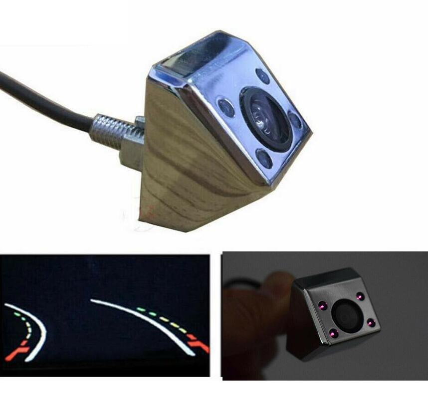 4 IR Led Night Vision Car Truck Rear View Dynamic Trajectory Guide Line Parking Camera Reverse Backup Silver Chrome