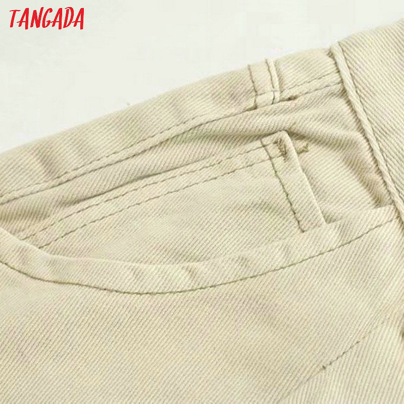 Tangada fashion women loose mom jeans long trousers pockets zipper loose streetwear female pants 4M58 31