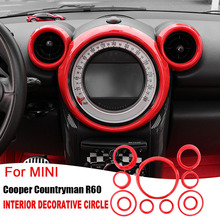 ABS Sticker for BMW Mini Cooper R60 Countryman 2013 2016 Decorative Frame Gear Stickers Cover Air Outlet Interior Accessories