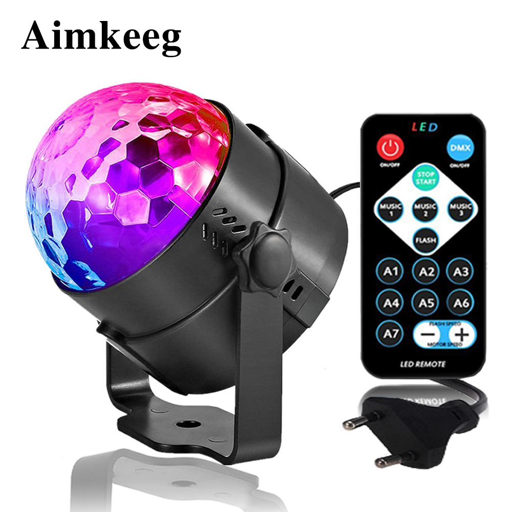 Mini Disco DJ Stage Light Sound Activated Laser Light DJ Lighting Effect LED Disco Ball Lamp For Dance Floor