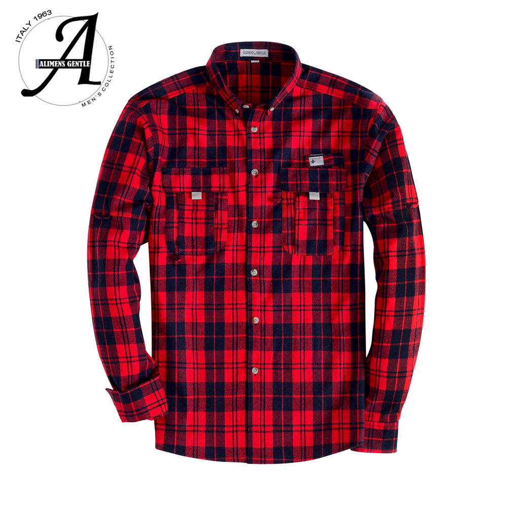100% Cotton Flannel Plaid Shirt Men Casual Long Sleeve Fashion Male Shirt Chemise Homme Camisa Social Masculina