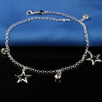 New Small Stars Pendant Bohemia Foot Anklet 925 Sterling Silver Plate Anklets Bracelet Chain For Fashion Women Chain On Jewelry чернила cactus cs i cl441m magenta 100ml для canon pixma mg2140 mg3140