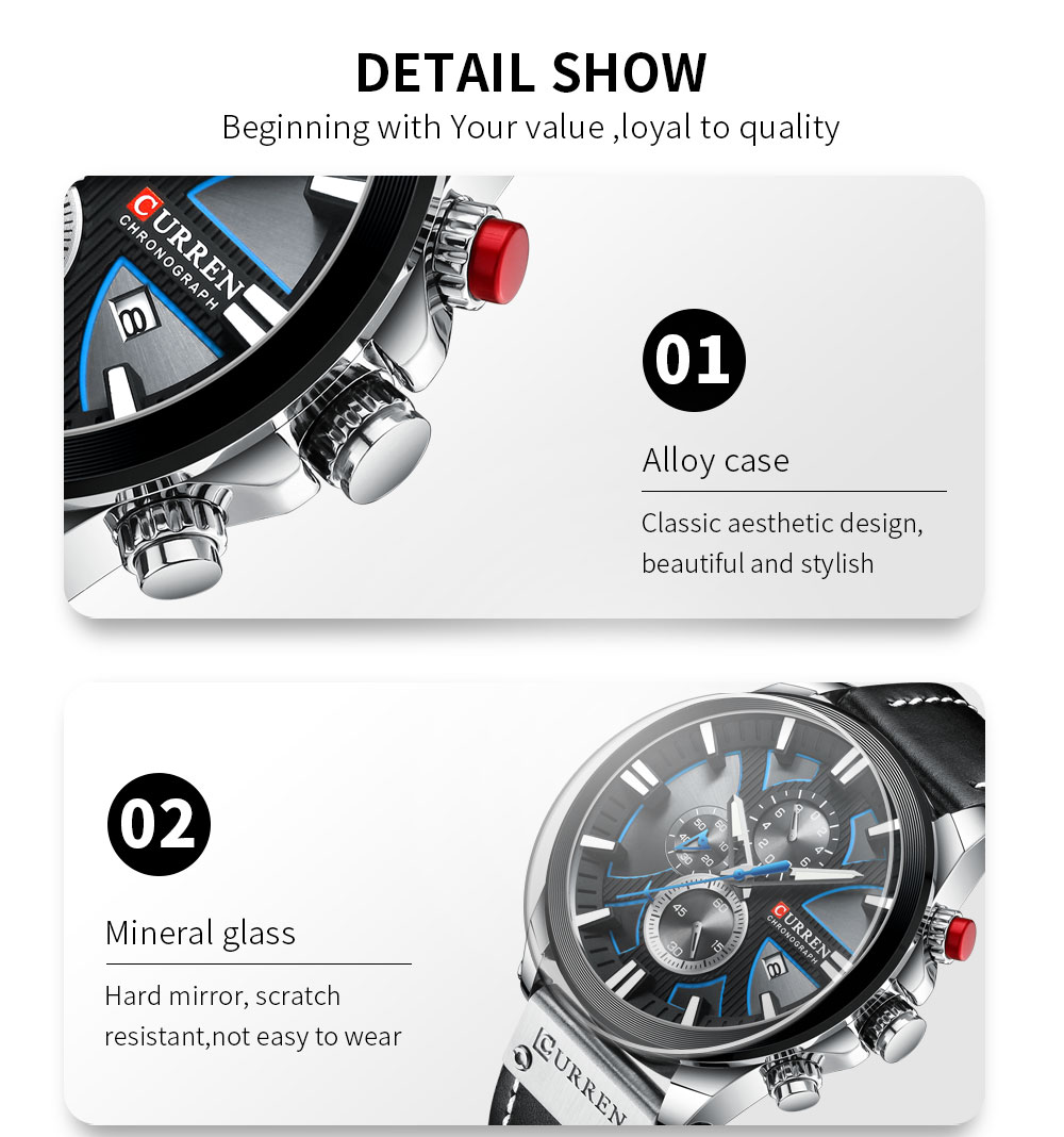 H5a3b786397ad4298a170d96ca40f31f8N CURREN Big Dial Men's Watch Chronograph Sport Men Watches Design Creative With Dates Male Wristwatch Mens Stainless Steel