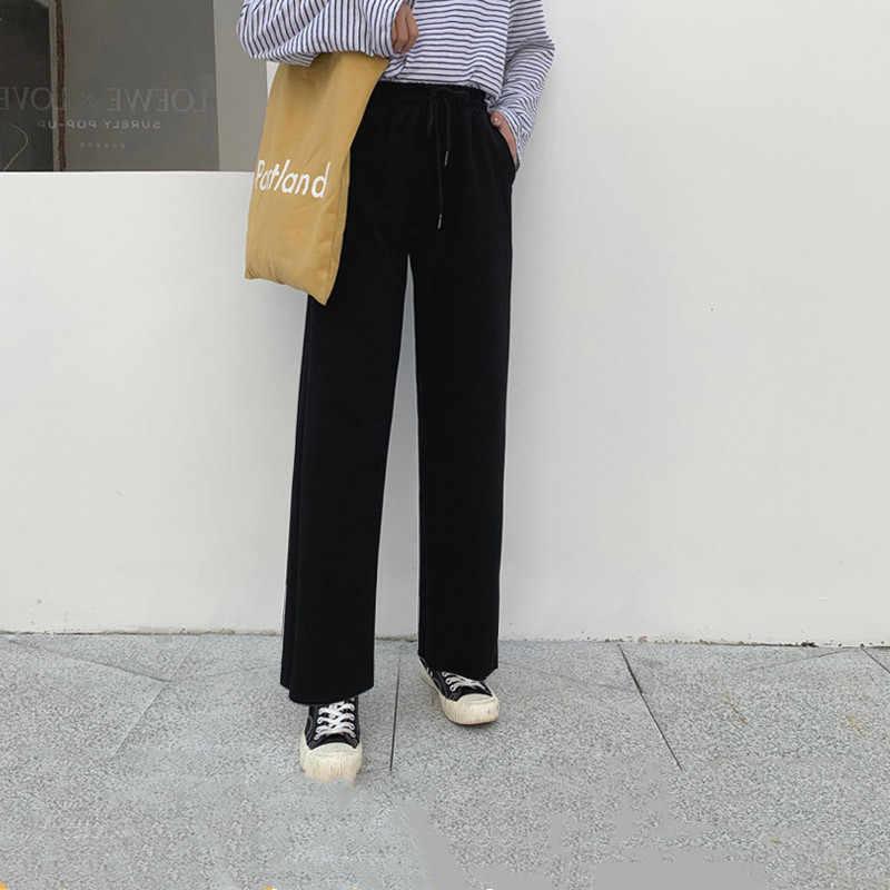 Pantalones De Chandal Sueltos De Algodon Para Mujer Pantalones Anchos De Pierna Pantalones Grises De Cintura Alta Para Mujer Primavera Verano Spodnie Damskie K702 Pph555 Pantalones Y Pantalones Capri Aliexpress